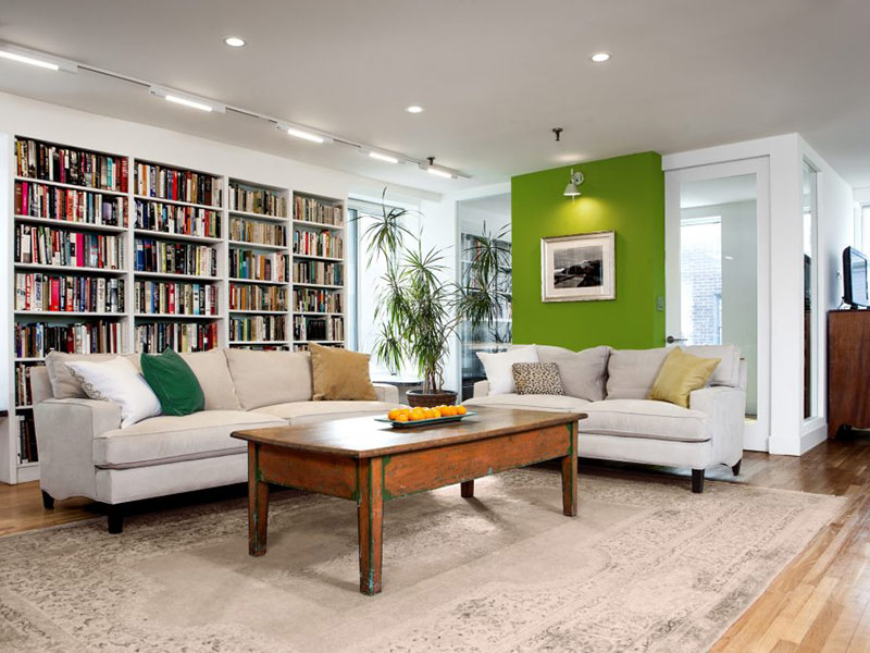 living room with bright green accent wall and wall book shelf manhattan ny