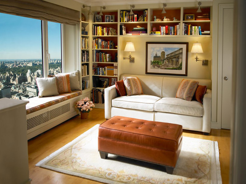 living room with couch leather ottoman and book shelves and window overlooking city manhattan ny